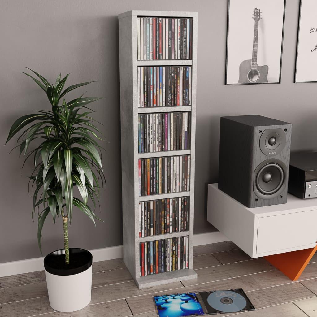 vidaXL Dulap CD-uri, gri beton, 21x20x88 cm, PAL imagine vidaxl.ro