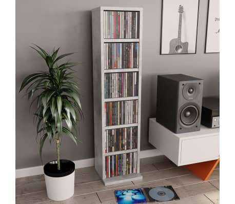 "vidaXL CD Cabinet Concrete Gray 8.3""x6.3""x34.6"" Chipboard[1/6]"