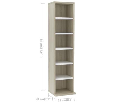 "vidaXL CD Cabinet White and Sonoma Oak 8.3""x6.3""x34.6"" Chipboard[6/6]"