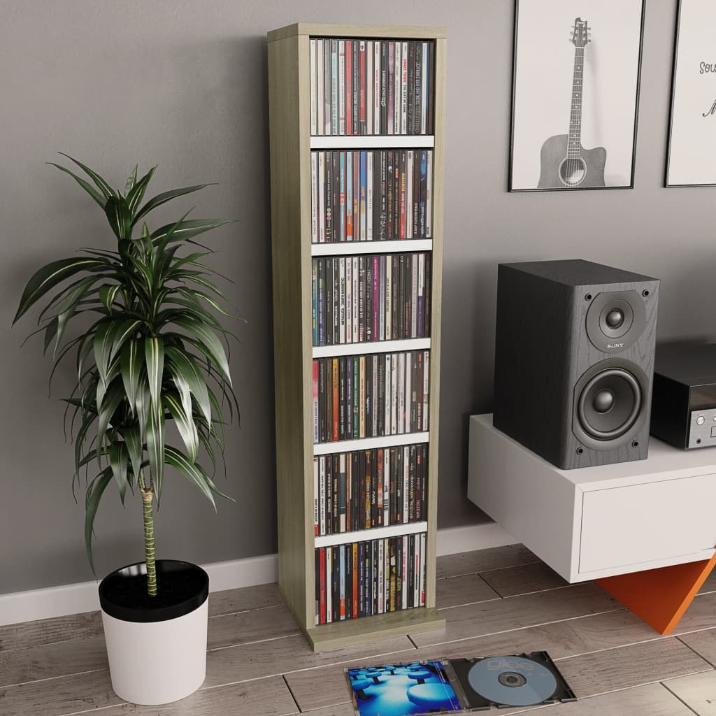 vidaXL Dulap CD-uri, alb și stejar Sonoma, 21x20x88 cm, PAL imagine vidaxl.ro