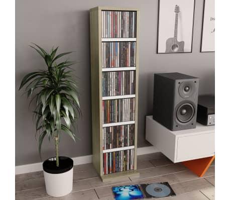 "vidaXL CD Cabinet White and Sonoma Oak 8.3""x6.3""x34.6"" Chipboard[1/6]"