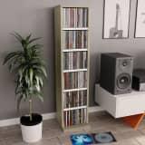 vidaXL Skříňka na CD bílá a dub sonoma 21 x 20 x 88 cm dřevotříska