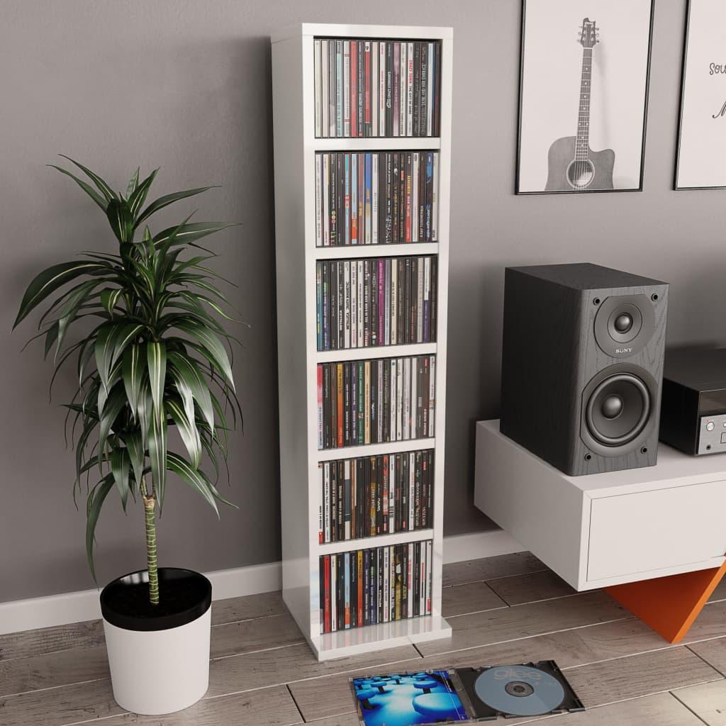 vidaXL Dulap CD-uri, alb extralucios, 21 x 20 x 88 cm, PAL imagine vidaxl.ro
