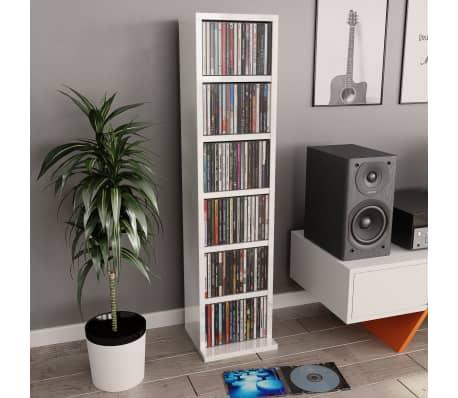 vidaXL Spintelė kompaktiniams diskams, baltos sp., 21x16x88cm, MDP[1/6]