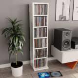 vidaXL Szafka na CD, wysoki połysk, biała, 21x20x88 cm, płyta wiórowa
