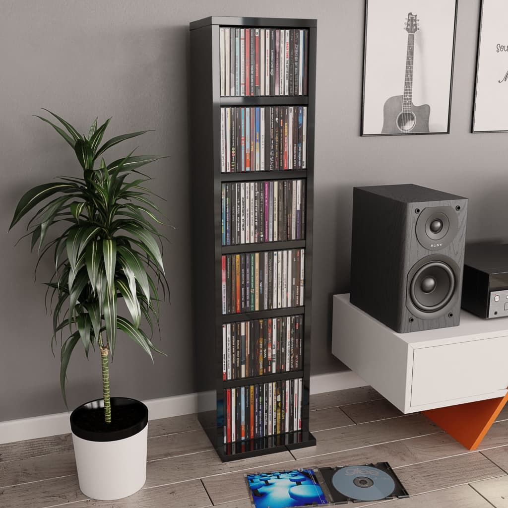 vidaXL Dulap CD-uri, gri extralucios, 21 x 20 x 88 cm, PAL imagine vidaxl.ro