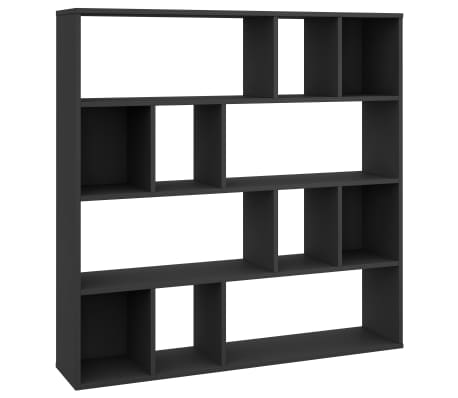 "vidaXL Room Divider/Book Cabinet Black 43.3""x9.4""x43.3"" Chipboard[2/7]"