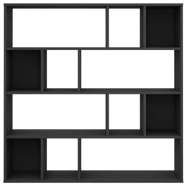 "vidaXL Room Divider/Book Cabinet Black 43.3""x9.4""x43.3"" Chipboard[5/7]"