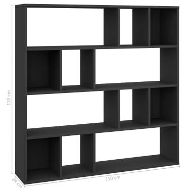 "vidaXL Room Divider/Book Cabinet Black 43.3""x9.4""x43.3"" Chipboard[7/7]"