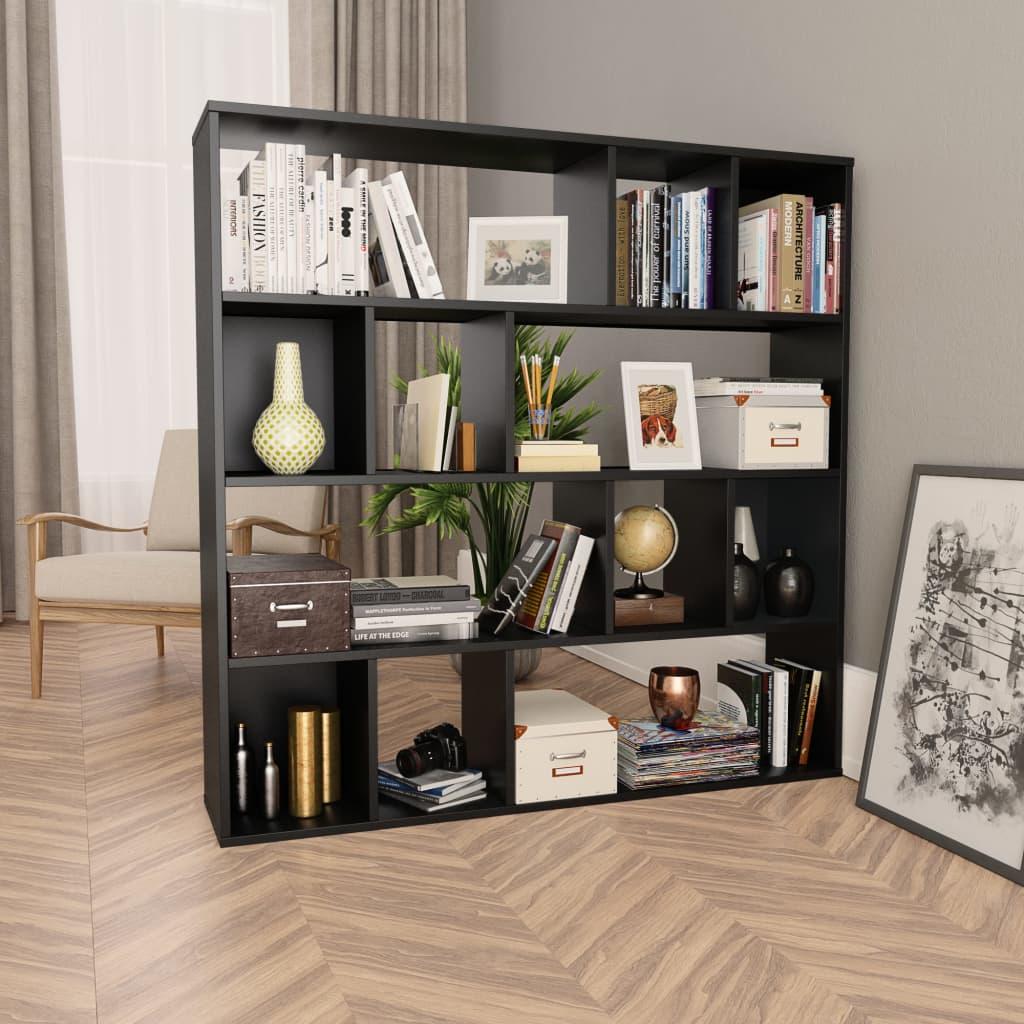 vidaXL Separator cameră/Bibliotecă, negru, 110 x 24 x 110 cm, PAL vidaxl.ro