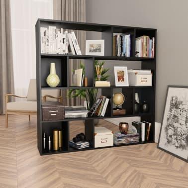 "vidaXL Room Divider/Book Cabinet Black 43.3""x9.4""x43.3"" Chipboard[1/7]"