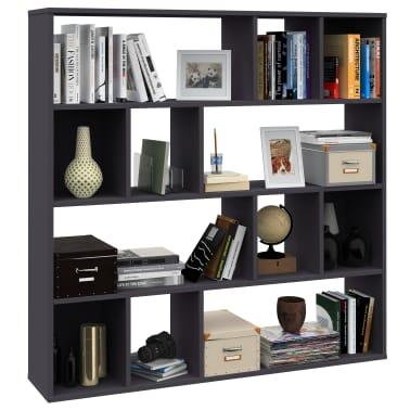 "vidaXL Room Divider/Book Cabinet Gray 43.3""x9.4""x43.3"" Chipboard[4/7]"