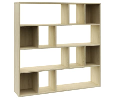 "vidaXL Room Divider/Book Cabinet Sonoma Oak 43.3""x9.4""x43.3"" Chipboard[2/7]"