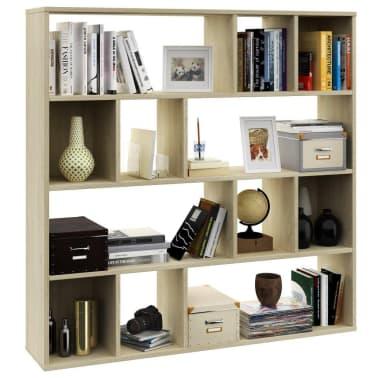 "vidaXL Room Divider/Book Cabinet Sonoma Oak 43.3""x9.4""x43.3"" Chipboard[4/7]"