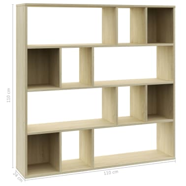 "vidaXL Room Divider/Book Cabinet Sonoma Oak 43.3""x9.4""x43.3"" Chipboard[7/7]"