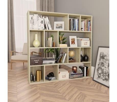 "vidaXL Room Divider/Book Cabinet Sonoma Oak 43.3""x9.4""x43.3"" Chipboard[1/7]"