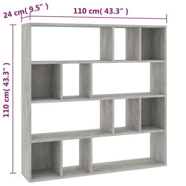 "vidaXL Room Divider/Book Cabinet Concrete Gray 43.3""x9.4""x43.3"" Chipboard[7/7]"