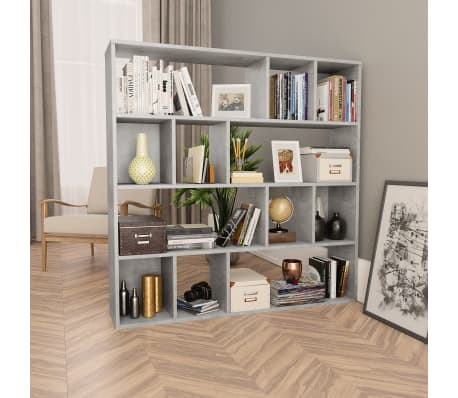 "vidaXL Room Divider/Book Cabinet Concrete Gray 43.3""x9.4""x43.3"" Chipboard[1/7]"