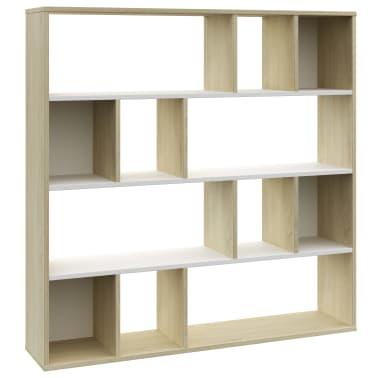 "vidaXL Room Divider/Book Cabinet White and Sonoma Oak 43.3""x9.4""x43.3"" Chipboard[2/7]"