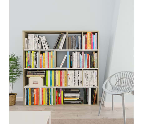"vidaXL Room Divider/Book Cabinet White and Sonoma Oak 43.3""x9.4""x43.3"" Chipboard[3/7]"