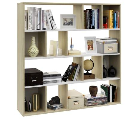 "vidaXL Room Divider/Book Cabinet White and Sonoma Oak 43.3""x9.4""x43.3"" Chipboard[4/7]"