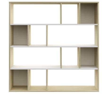 "vidaXL Room Divider/Book Cabinet White and Sonoma Oak 43.3""x9.4""x43.3"" Chipboard[5/7]"