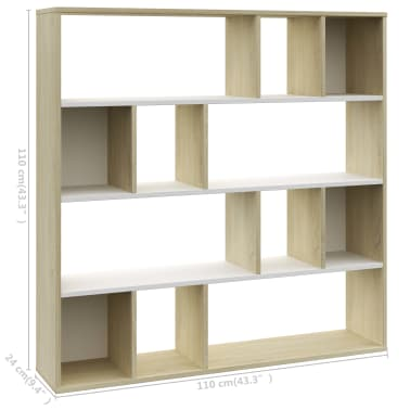 "vidaXL Room Divider/Book Cabinet White and Sonoma Oak 43.3""x9.4""x43.3"" Chipboard[7/7]"