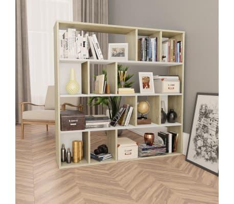 "vidaXL Room Divider/Book Cabinet White and Sonoma Oak 43.3""x9.4""x43.3"" Chipboard[1/7]"