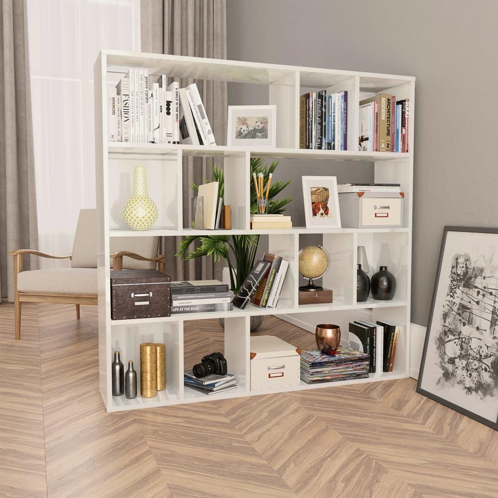 Zástěna/knihovna bílá vysoký lesk 110 x 24 x 110 cm dřevotříska