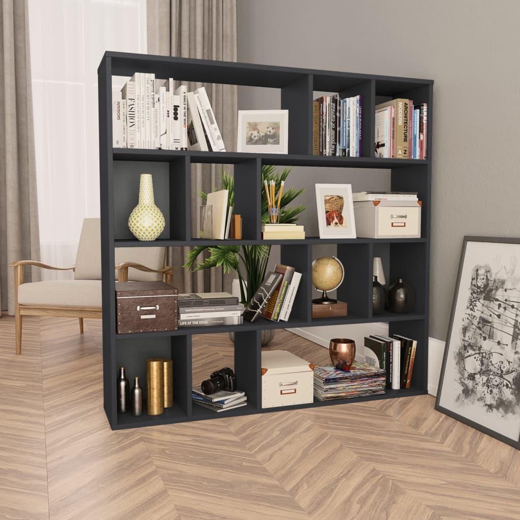 Zástěna/knihovna černá vysoký lesk 110 x 24 x 110 cm dřevotříska