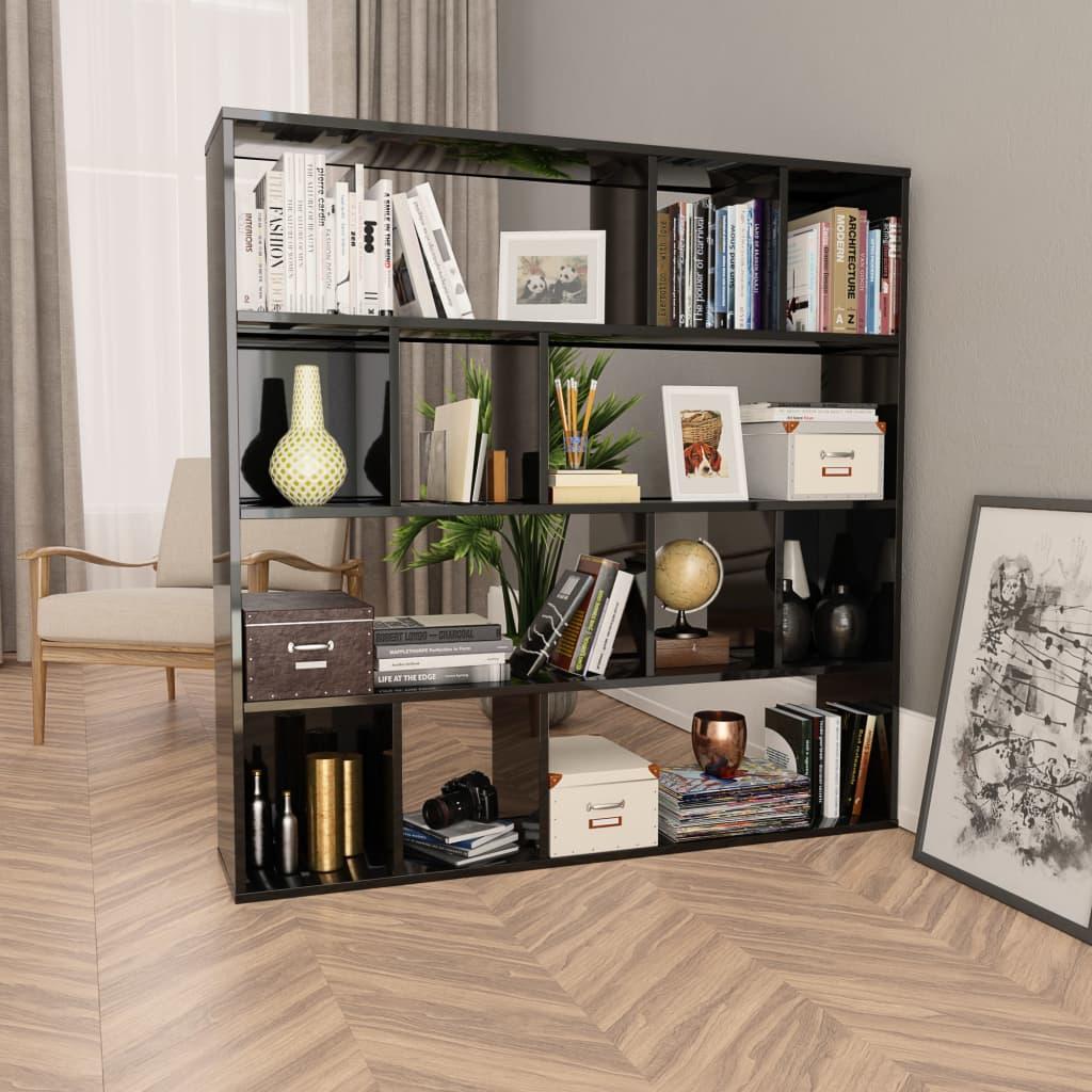 Knihovna/dělící stěna šedá vysoký lesk 110x24x110cm dřevotříska