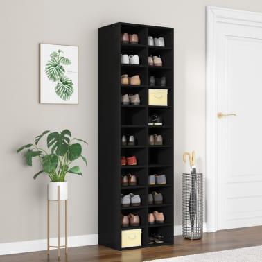 "vidaXL Shoe Cabinet Black 21.2""x13.3""x72"" Chipboard[1/6]"