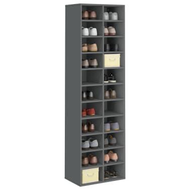 "vidaXL Shoe Cabinet Gray 21.2""x13.3""x72"" Chipboard[3/6]"