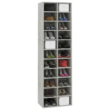 "vidaXL Shoe Cabinet Concrete Gray 21.2""x13.3""x72"" Chipboard[3/6]"
