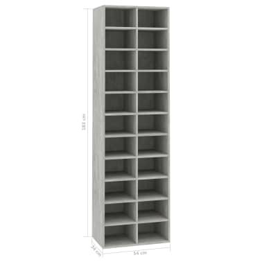 "vidaXL Shoe Cabinet Concrete Gray 21.2""x13.3""x72"" Chipboard[6/6]"