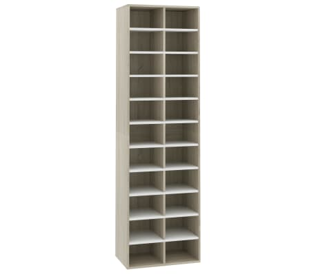 "vidaXL Shoe Cabinet White and Sonoma Oak 21.2""x13.3""x72"" Chipboard[2/6]"