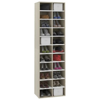 "vidaXL Shoe Cabinet White and Sonoma Oak 21.2""x13.3""x72"" Chipboard[3/6]"