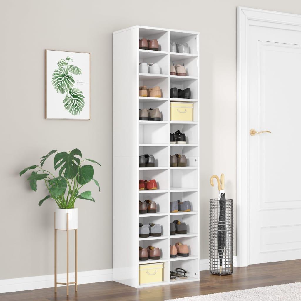vidaXL Pantofar, alb lucios, 54 x 34 x 183 cm, PAL poza 2021 vidaXL
