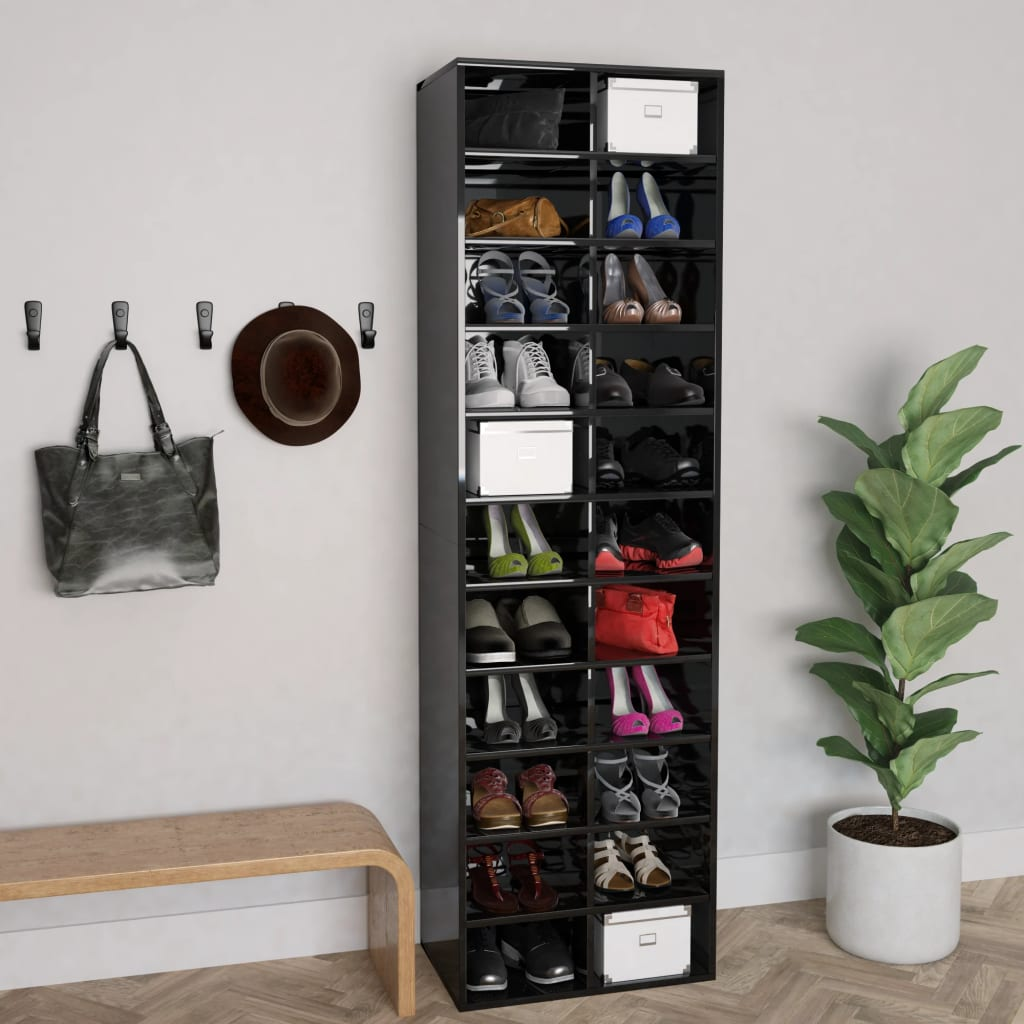 vidaXL Pantofar, negru extralucios, 54x34x183 cm, PAL poza vidaxl.ro