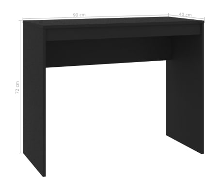 vidaXL Desk Black 90x40x72 cm Chipboard[2/6]