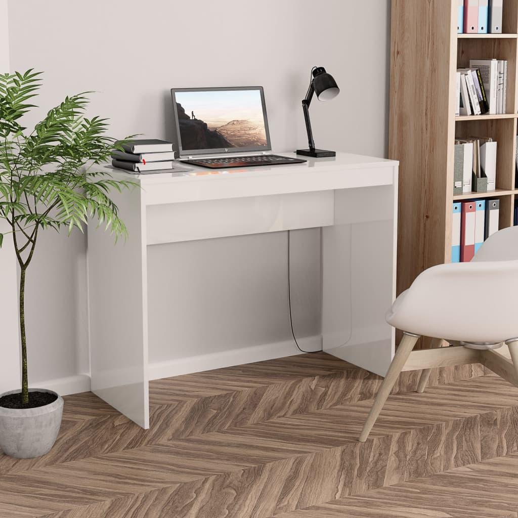 Psací stůl bílý s vysokým leskem 90 x 40 x 72 cm dřevotříska