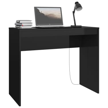 vidaXL Desk High Gloss Black 90x40x72 cm Chipboard[3/6]