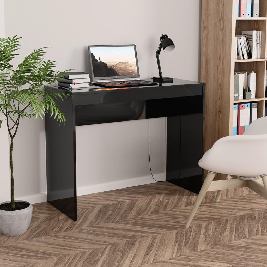 Psací stůl černý s vysokým leskem 90 x 40 x 72 cm dřevotříska