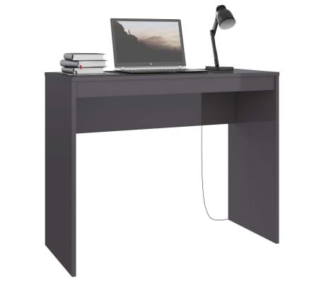 vidaXL Desk High Gloss Grey 90x40x72 cm Chipboard[3/6]