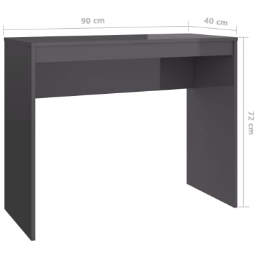 vidaXL Desk High Gloss Grey 90x40x72 cm Chipboard[6/6]
