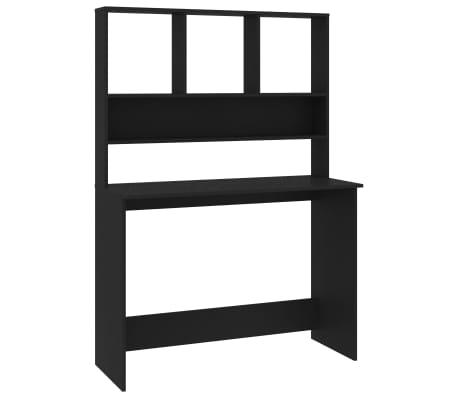 vidaXL Desk with Shelves Black 110x45x157 cm Chipboard