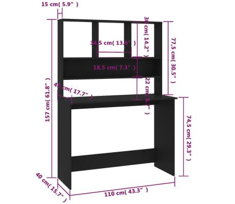 "vidaXL Desk with Shelves Black 43.3""x17.7""x61.8"" Chipboard[6/6]"