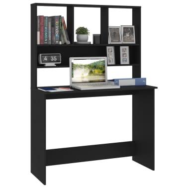 "vidaXL Desk with Shelves Black 43.3""x17.7""x61.8"" Chipboard[3/6]"