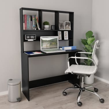 "vidaXL Desk with Shelves Black 43.3""x17.7""x61.8"" Chipboard[1/6]"