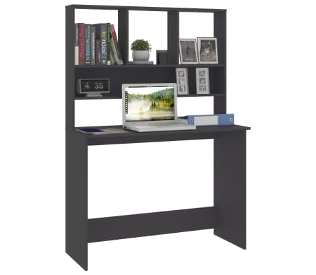 "vidaXL Desk with Shelves Gray 43.3""x17.7""x61.8"" Chipboard[3/6]"
